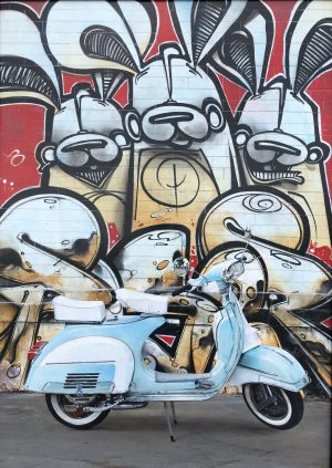 "Graffiti Alley Vespa 30x43"" Acrylic on board"