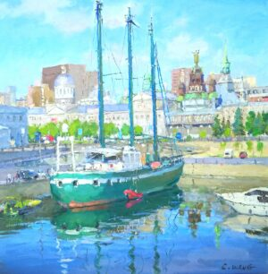 """Old Port of Montreal 蒙特利尔老港 24x24"""",2012 oil on canvas"""