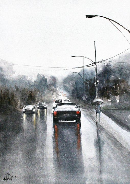"Rainy day 01,16.5 x11.7"" watercolor on paper"