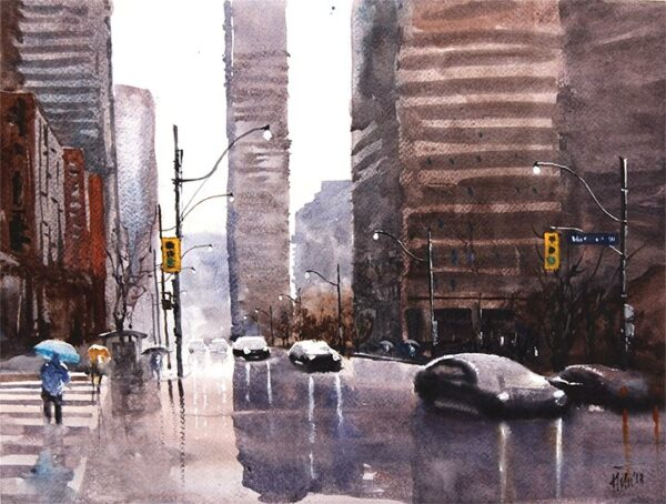 "Rainy day 04, 16.5 x11.7"" watercolor on paper"