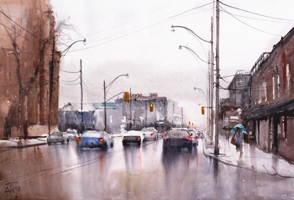"""Rainy day 02 ,15 x 22 """" watercolor on paper"""