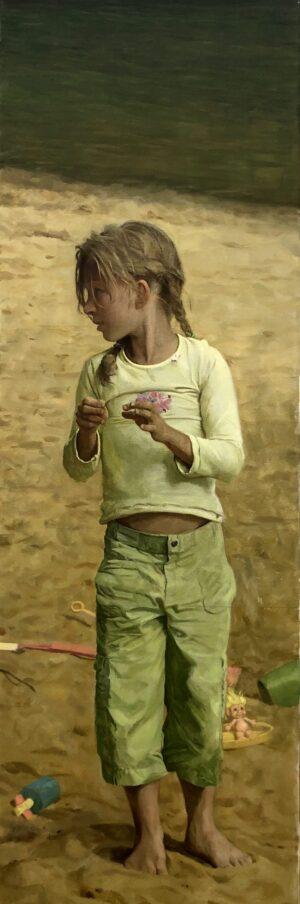 """她生长湖滨 16x48"""" oil on canvas"""