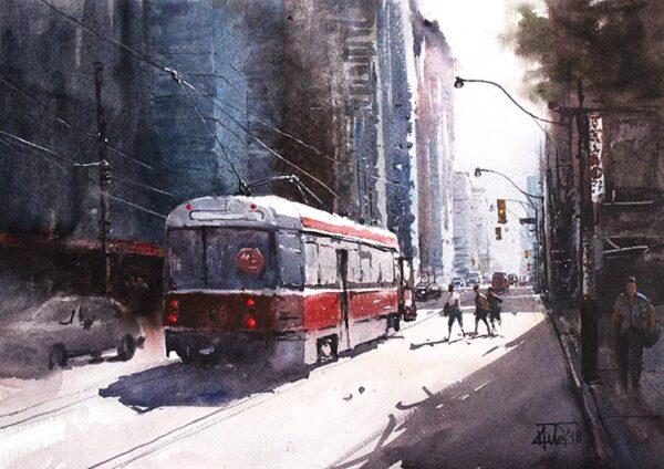 """Strret scene 01, 16.5 x11.7"""" watercolor on paper"""