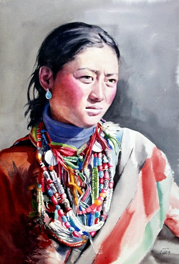 "Tibetian Girl,15x22"" watercolor on paper"