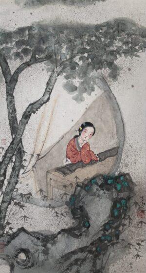 Xiaoling Guo 020 暮怅图 35x66cm