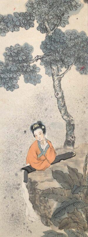 Xiaoling Guo 021 梧桐仕女图 28x73cm
