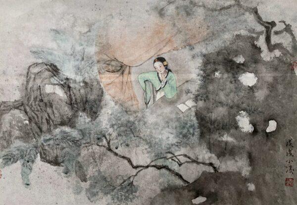 Xiaoling Guo 026 觅句图 46x66cm