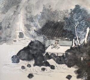 Xiaoling Guo 029 观雨图 45x51cm